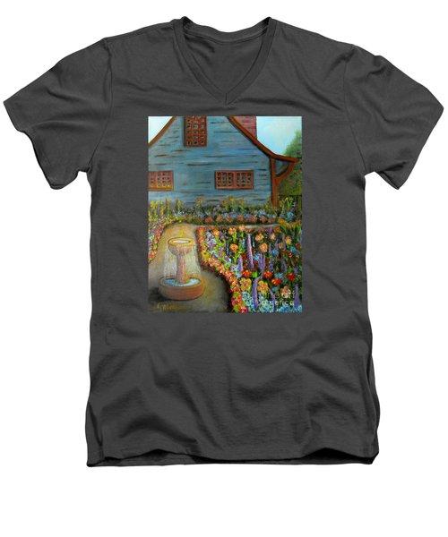 Dream Garden Men's V-Neck T-Shirt by Laurie Morgan