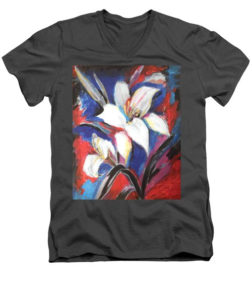 Men's V-Neck T-Shirt featuring the painting Fair Pure Fragile White Lilies by Esther Newman-Cohen
