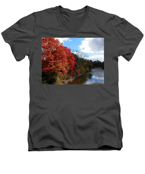 Fall At The Credit River Men's V-Neck T-Shirt by Pema Hou