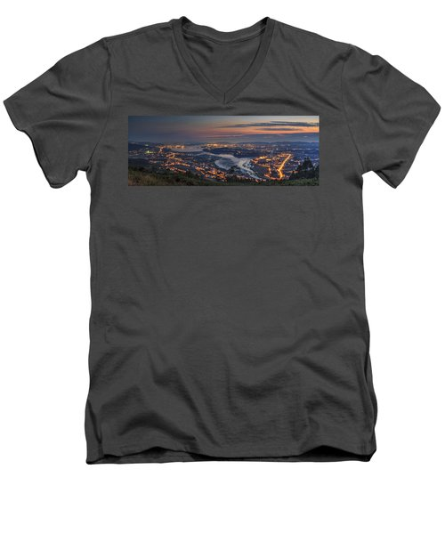 Ferrol's Ria Panorama From Mount Ancos Galicia Spain Men's V-Neck T-Shirt