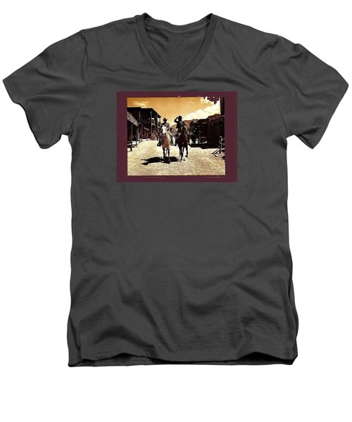 Film Homage Mark Slade Cameron Mitchell Riding Horses The High Chaparral Old Tucson Az C.1967-2013 Men's V-Neck T-Shirt by David Lee Guss
