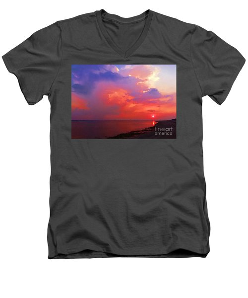 Fire In The Sky Men's V-Neck T-Shirt by Holly Martinson
