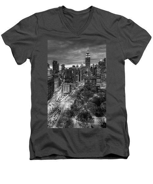 Flatiron District Birds Eye View Men's V-Neck T-Shirt by Susan Candelario