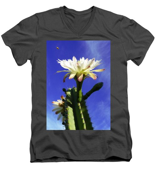Men's V-Neck T-Shirt featuring the photograph Flowering Cactus 3 by Mariusz Kula