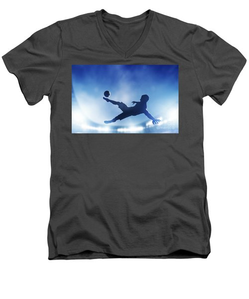 Football Soccer Match A Player Shooting On Goal Men's V-Neck T-Shirt by Michal Bednarek