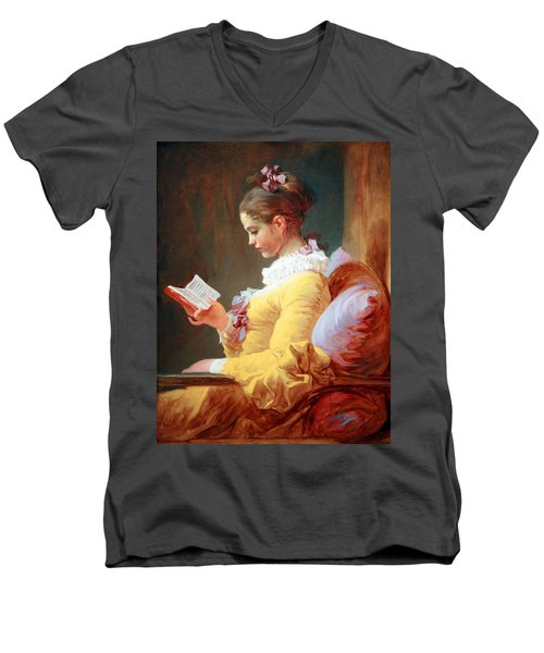 Men's V-Neck T-Shirt featuring the photograph Fragonard's Young Girl Reading by Cora Wandel