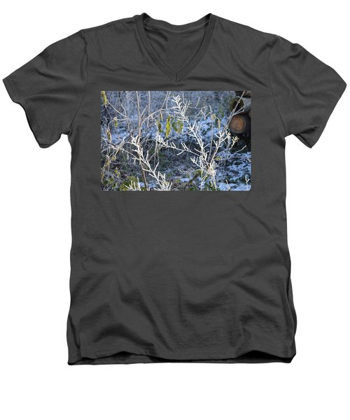 Men's V-Neck T-Shirt featuring the photograph Frozen by Felicia Tica