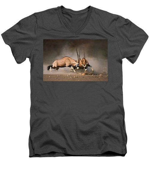 Gemsbok Fight Men's V-Neck T-Shirt by Johan Swanepoel