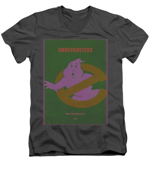 Men's V-Neck T-Shirt featuring the digital art Ghostbusters Movie Poster by Brian Reaves