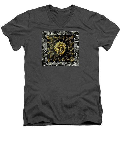 Men's V-Neck T-Shirt featuring the photograph Golden God by Nareeta Martin