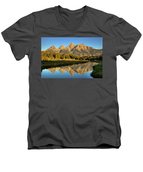 Men's V-Neck T-Shirt featuring the photograph Grand Teton by Alan Vance Ley