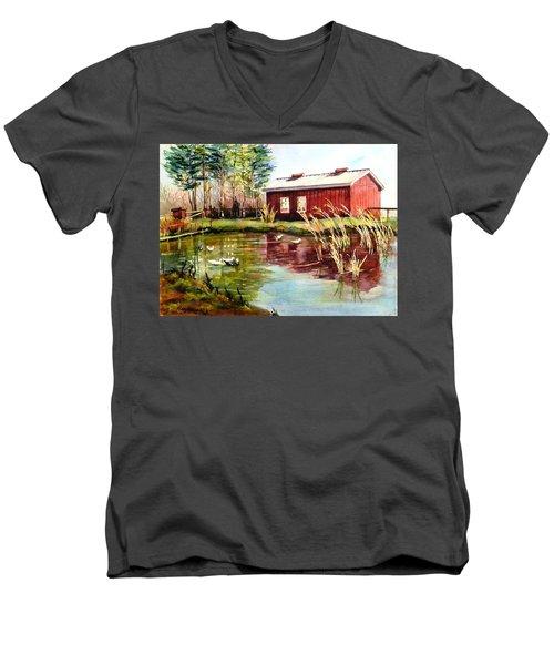 Green Acre Farm Men's V-Neck T-Shirt by Betty M M   Wong