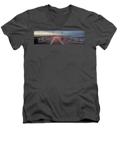 Men's V-Neck T-Shirt featuring the digital art Gulf State Pier by Michael Thomas