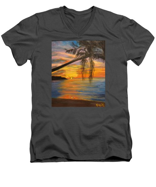 Men's V-Neck T-Shirt featuring the painting Hawaiian Sunset 11 by Jenny Lee