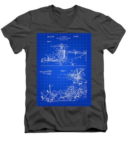 Helicopter Patent 1940 - Blue Men's V-Neck T-Shirt