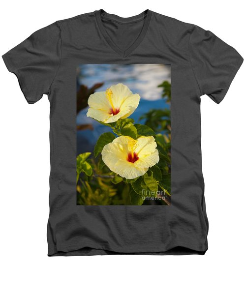 Men's V-Neck T-Shirt featuring the photograph Bright Yellow Hibiscus by Roselynne Broussard