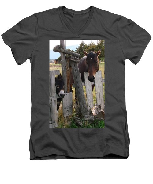 Men's V-Neck T-Shirt featuring the photograph Horsing Around by Athena Mckinzie