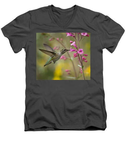 Hummingbird Heaven  Men's V-Neck T-Shirt by Saija  Lehtonen