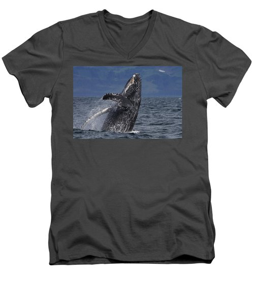 Humpback Whale Breaching Prince William Men's V-Neck T-Shirt