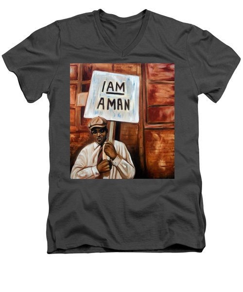 Men's V-Neck T-Shirt featuring the painting I Am A Man by Emery Franklin