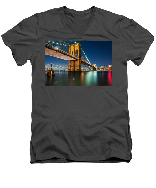 Illuminated Brooklyn Bridge By Night Men's V-Neck T-Shirt