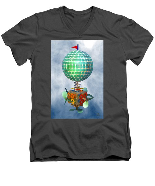 Men's V-Neck T-Shirt featuring the digital art Improbability by Manny Lorenzo