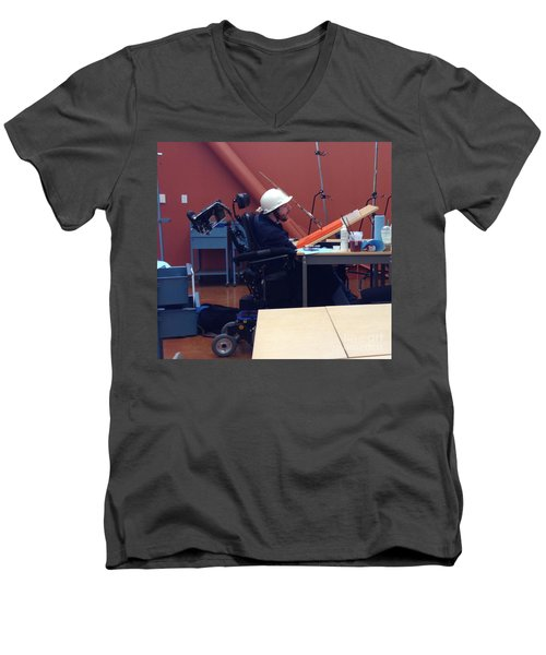Men's V-Neck T-Shirt featuring the photograph In Studio by Donald J Ryker III