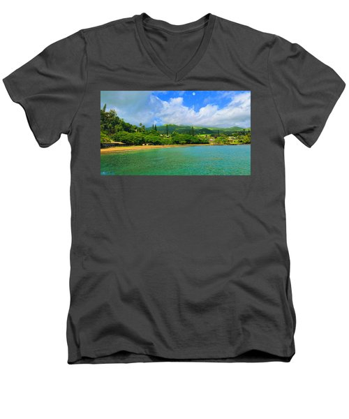 Island Of Maui Men's V-Neck T-Shirt by Michael Rucker
