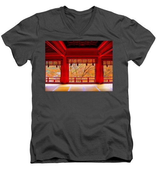 Japan Red Men's V-Neck T-Shirt