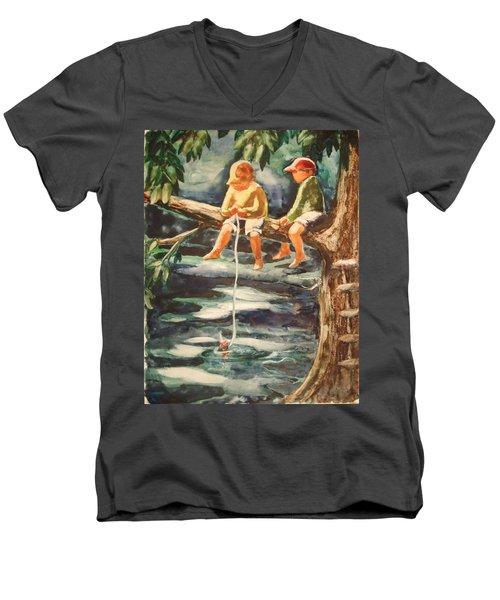 Jes Fishin Men's V-Neck T-Shirt by Marilyn Jacobson