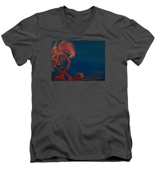 Men's V-Neck T-Shirt featuring the painting Jumbie Under De' Ocean by Robert Nickologianis