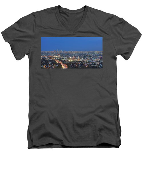 L.a. Skyline Los Angeles Ca Cityscape Night Dusk Lit Lights On 3 Men's V-Neck T-Shirt