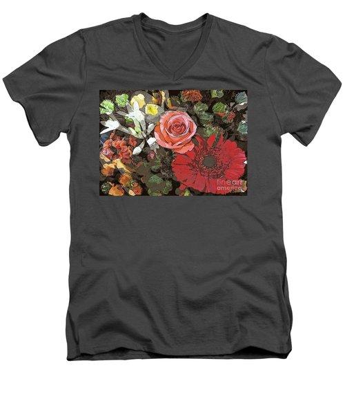Men's V-Neck T-Shirt featuring the digital art Lancaster Flowers by Joseph J Stevens