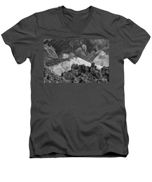 Men's V-Neck T-Shirt featuring the photograph Landmannalaugar Iceland 4 by Rudi Prott