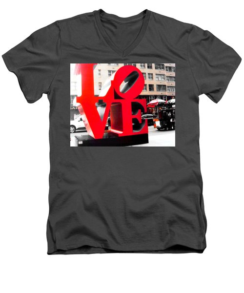 Love Men's V-Neck T-Shirt by J Anthony