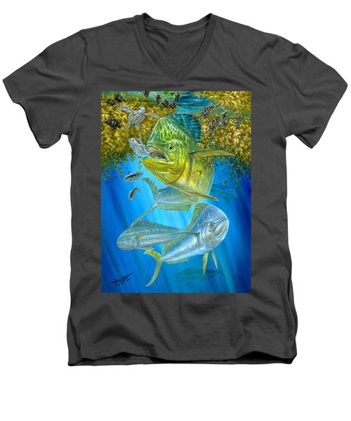 Mahi Mahi Hunting In Sargassum Men's V-Neck T-Shirt