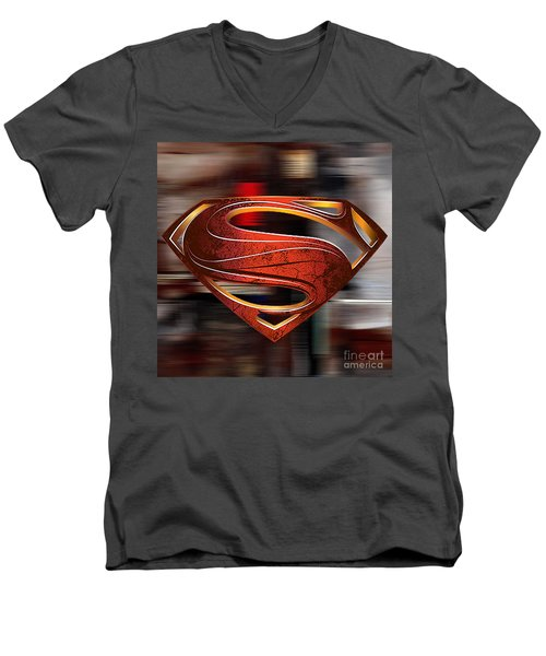 Men's V-Neck T-Shirt featuring the mixed media Man Of Steel Superman by Marvin Blaine