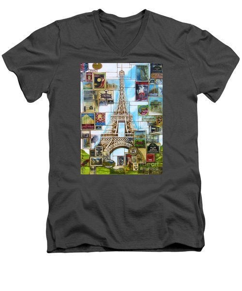 Men's V-Neck T-Shirt featuring the painting Memories Of Paris by Joseph Sonday