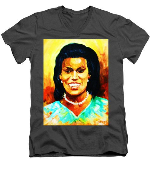 Men's V-Neck T-Shirt featuring the painting Michelle Obama by Al Brown
