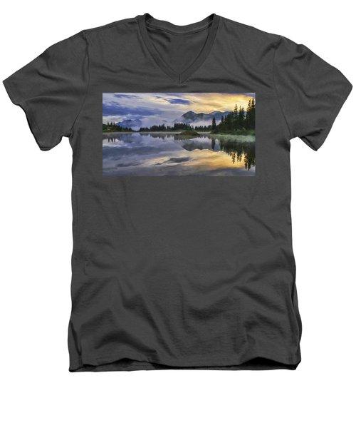 Molas Lake Sunrise Men's V-Neck T-Shirt by Priscilla Burgers