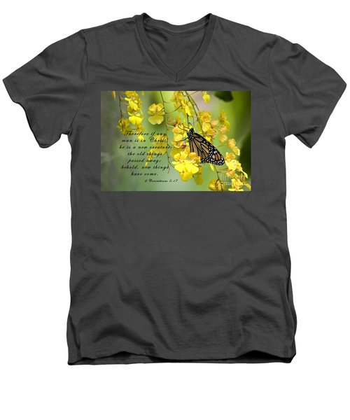 Monarch Butterfly With Scripture Men's V-Neck T-Shirt