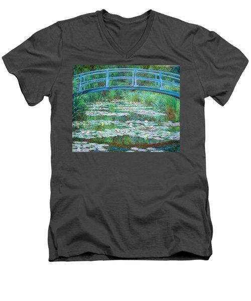 Men's V-Neck T-Shirt featuring the photograph Monet's The Japanese Footbridge by Cora Wandel