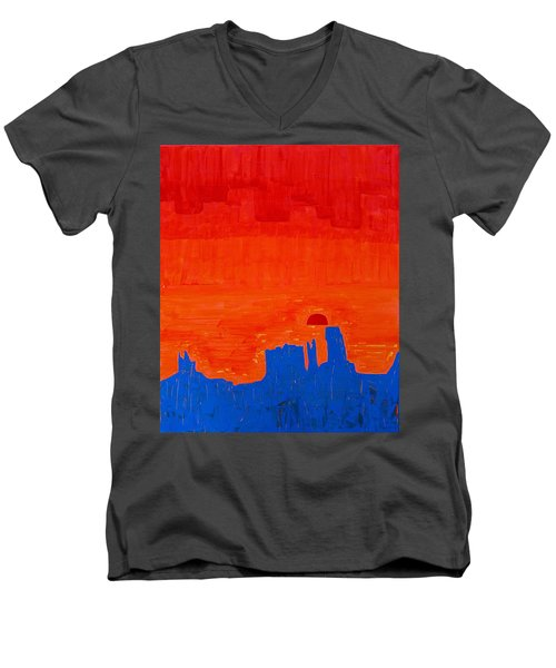 Monument Valley Original Painting Men's V-Neck T-Shirt by Sol Luckman