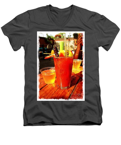 Morning Bloody Men's V-Neck T-Shirt by Perry Webster