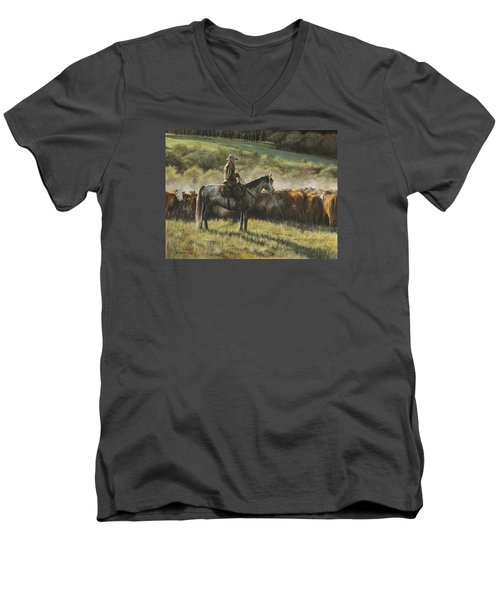 Morning In The Highwoods Men's V-Neck T-Shirt by Kim Lockman
