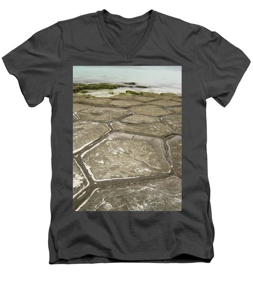 Natural Forming Pentagon Rock Formations Of Kumejima Okinawa Japan Men's V-Neck T-Shirt by Jeff at JSJ Photography
