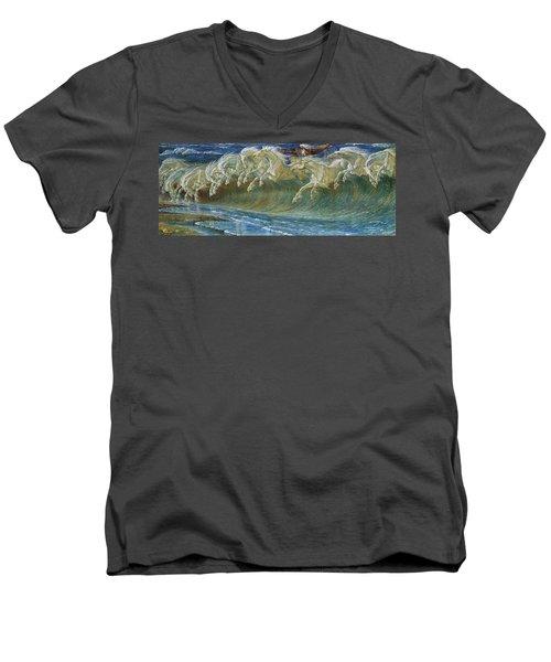 Neptune's Horses Men's V-Neck T-Shirt by Walter Crane
