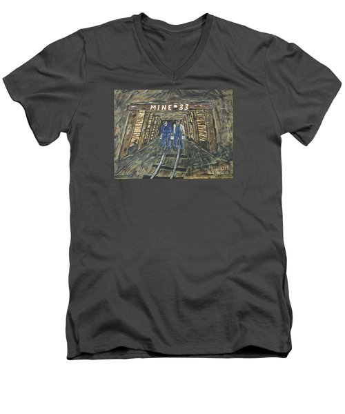 No Windows Down There In The Coal Mine .  Men's V-Neck T-Shirt