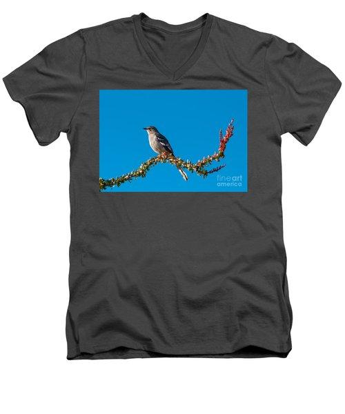 Northern Mockingbird Men's V-Neck T-Shirt by Robert Bales