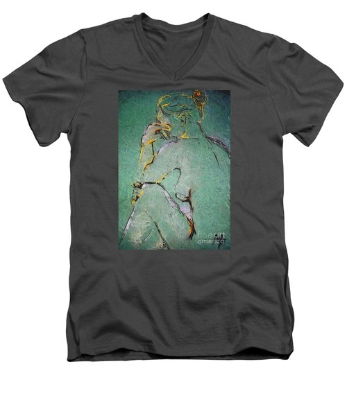 Men's V-Neck T-Shirt featuring the drawing Nude IIi  by Dragica  Micki Fortuna